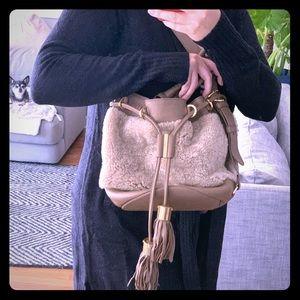See by Chloe Sherpa tassel bucket bag tan